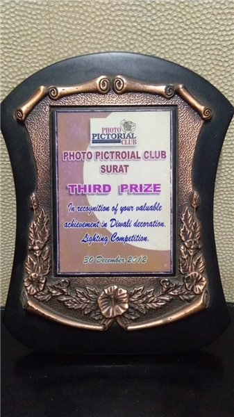 3rd Rank achieved  in Diwali lighting competition 2012  organized by PPMWA Surat