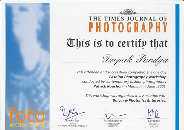 # Workshop by TIMES JOURNAL OF PHOTGRAPHY IN 2001 by PATRICK ROUCHON.
